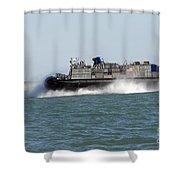 A Landing Craft Air Cushion Prepares Shower Curtain
