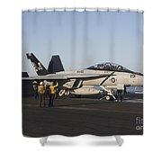 An Fa-18f Super Hornet During Flight Shower Curtain