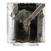Astronauts Working On The Hubble Space Shower Curtain
