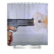 Handgun And .45 Caliber Bullet Shower Curtain