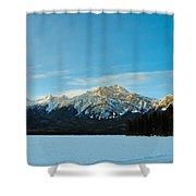 Illuminated Winter Landscape By The Sun Shower Curtain