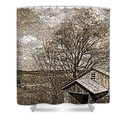 Rustic Hillside Barn Shower Curtain