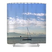 Sailing Boat Shower Curtain by Joana Kruse