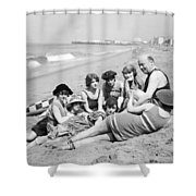 Silent Still: Bathers Shower Curtain