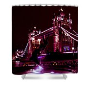 Tower Bridge And The Girl And Dolphin Statue  Shower Curtain