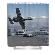 Two A-10 Thunderbolts Fly Shower Curtain