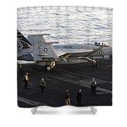 An Fa-18e Super Hornet During Flight Shower Curtain