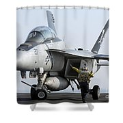 An Fa-18f Super Hornet During Flight Shower Curtain