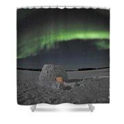 Aurora Borealis Over An Igloo On Walsh Shower Curtain