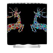 Reindeer Design By Snowflakes Shower Curtain by Setsiri Silapasuwanchai