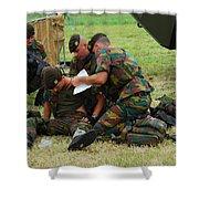 Soldiers Of A Belgian Infantry Unit Shower Curtain by Luc De Jaeger