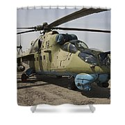 An Mi-35 Attack Helicopter At Kunduz Shower Curtain