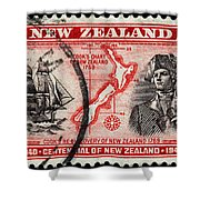 old New Zealand postage stamp Shower Curtain