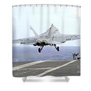 An Fa-18e Super Hornet Launches Shower Curtain