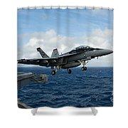 An Fa-18f Super Hornet Launches Shower Curtain