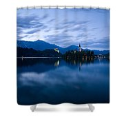 Dusk Over Lake Bled Shower Curtain