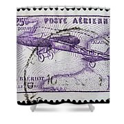 old French postage stamp Shower Curtain