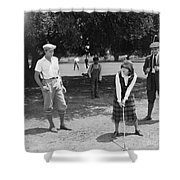 Silent Film Still: Golf Shower Curtain
