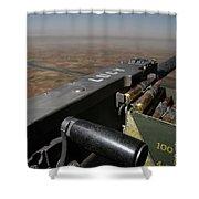 A .50 Caliber Machine Gun Points Shower Curtain by Stocktrek Images