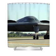 A B-2 Spirit Taxis Onto The Flightline Shower Curtain