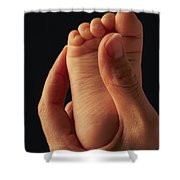A Babys Foot In An Adult Hand Shower Curtain