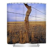 A Barbed Wire Fence Stretches Shower Curtain