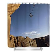 A Base Jumper Leaping With A Parachute Shower Curtain