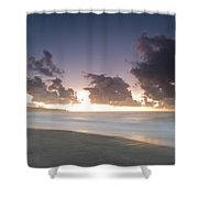 A Beach During Misty Sunset With Glowing Sky Shower Curtain