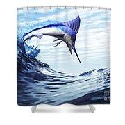 A Beautiful Blue Marlin Bursts Shower Curtain