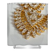 A Beautiful Gold And Diamond Pendant On A White Background Shower Curtain