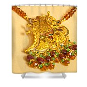 A Beautiful Intricately Carved Gold Pendant Hanging From A Semi-precious Stone Chain Shower Curtain