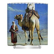 A Bedoueen Family In Wady Mousa Syrian Desert Shower Curtain