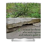 A Bench For Those Who Seek Repose Shower Curtain