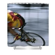 A Bicyclist Speeds Past In A Race Shower Curtain
