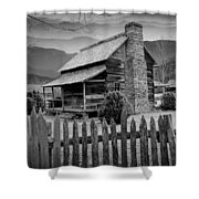 A Black And White Photograph Of An Appalachian Mountain Cabin Shower Curtain