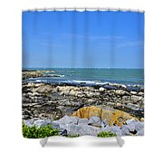 A Blue Skerries Sky Shower Curtain