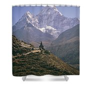 A Blue Sky And Mountain Range Shower Curtain