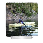 A Boy Kayaking Shower Curtain