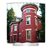 A Brick House With A Turret Shower Curtain