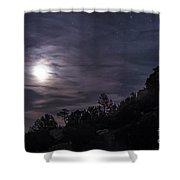 A Bright Moon Rises Through Clouds Shower Curtain