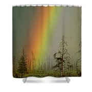 A Brilliantly Colored Rainbow Ends Shower Curtain