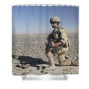A British Army Soldier On A Foot Patrol Shower Curtain