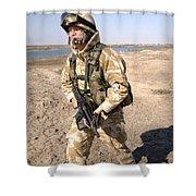 A British Army Soldier On Patrol Shower Curtain