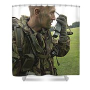 A British Army Soldier Radios Shower Curtain by Andrew Chittock