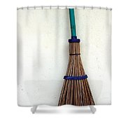 A Broom Stick On The Wall Shower Curtain