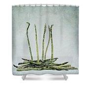 A Bunch Of Asparagus Shower Curtain by Priska Wettstein