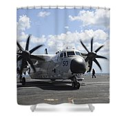 A C-2a Greyhound Taxis On The Flight Shower Curtain