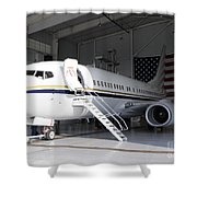 A C-40 Clipper In A Hangar Shower Curtain