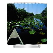 A Canoe Floats On A River Filled Shower Curtain