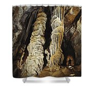 A Caver Is Dwarfed By Giant Calcite Shower Curtain